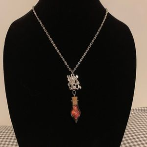 Haunted house w Bamboo Coral Glass Vial Necklace